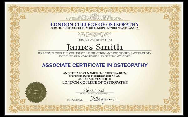 Associate Certificate Osteopathy