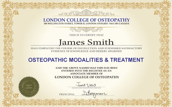 Osteopathic Modalities Treatment is one of the nine curriculum courses of the Diploma in Osteopathic Manual Practice program